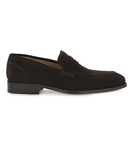 REISS Kerlon suede penny loafers (Dark+brown