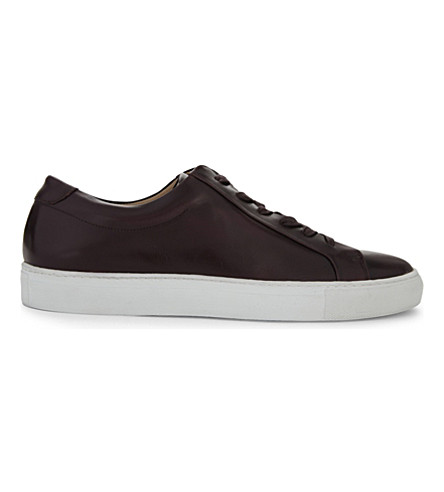 REISS Darren leather low-top trainers (Bordeaux