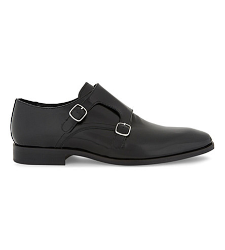 REISS Filmore leather double monk shoes (Black
