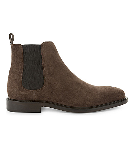 REISS Tenor suede Chelsea boots (Mid+brown