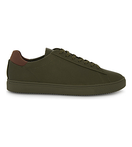 REISS Bradley leather low-top trainers (Olive