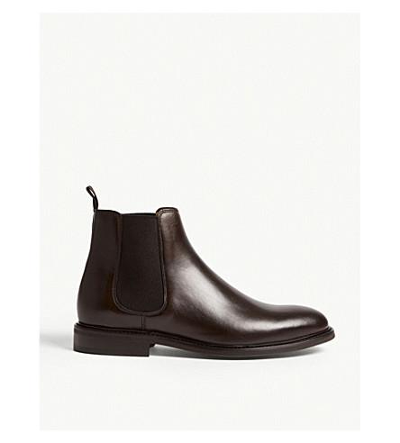 REISS Tenor leather Chelsea boots (Dark+brown