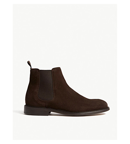 REISS Tenor leather Chelsea boots (Dark+brown