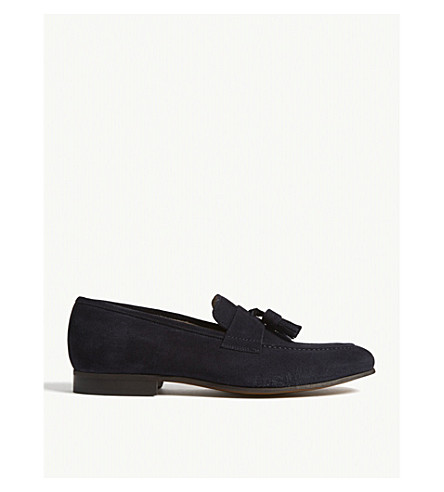 REISS Thorpe suede tassel loafers