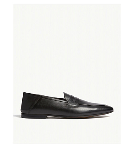 Loris - Leather Penny Loafers in Black, Mens, Size 10 Reiss