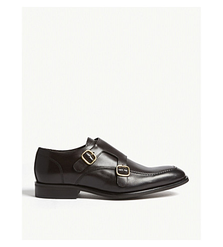 REISS Rilmont leather double monk shoes (Dark+brown