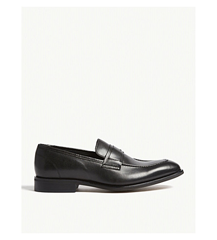REISS Loris leather penny loafers (Black