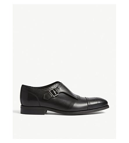 REISS Raven leather single-monk shoes (Black