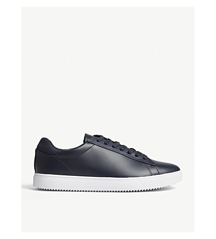 REISS Bradley leather trainers (Navy