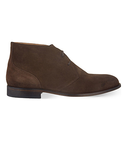 REISS Aden suede chukka boots (Dark+brown