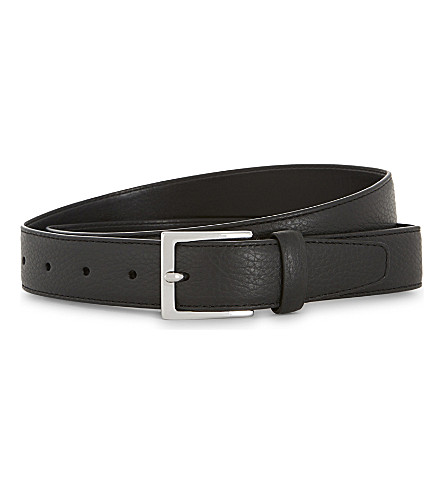 REISS Henry tumbled leather belt (Black