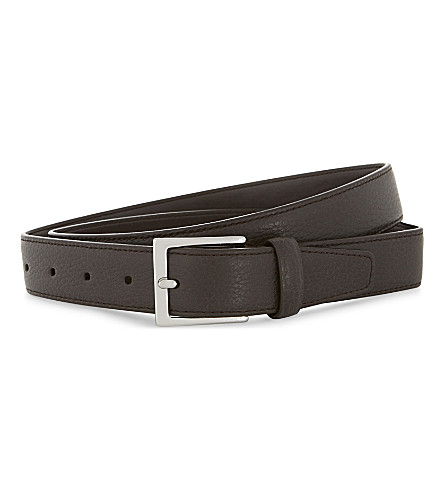 REISS Henry tumbled leather belt (Dark brown