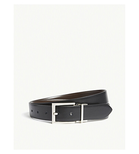 REISS Ricky reversible leather belt (Black/dark+brow