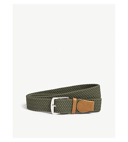 REISS Elmont woven elasticated belt (Khaki