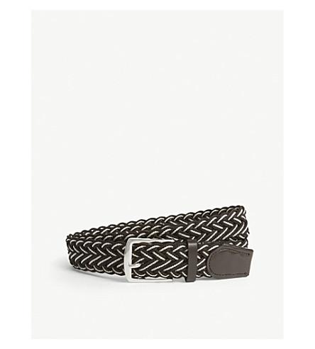 REISS Pilcher elasticated braided belt (Brown