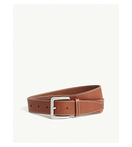REISS Rebel grained leather belt (Tan