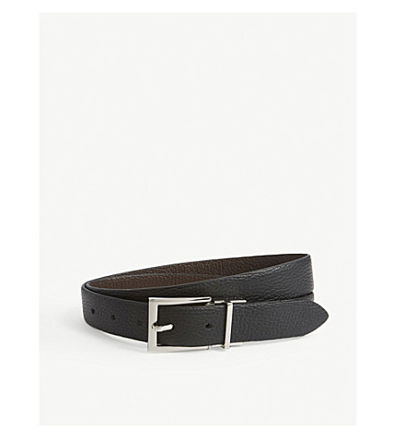REISS Rex tumbled leather reversible belt (Black/dark+brow