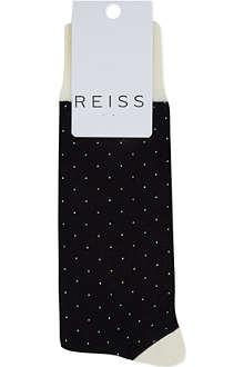 REISS Fine spot contrast socks