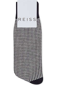 REISS Houndstooth check socks
