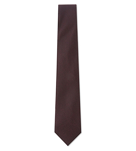 REISS Ceremony woven silk tie (Burgundy