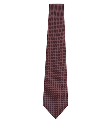 REISS Belmont geometric-pattern silk tie (Burgundy