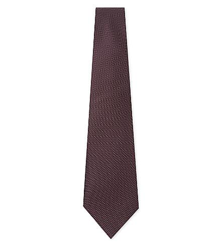 REISS Bistel textured weave silk tie (Burgundy