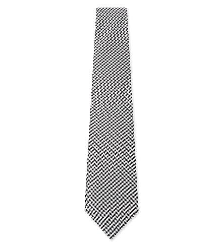 REISS Hundred woven silk tie (Black