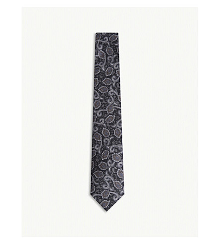 REISS Presley printed silk tie (Black