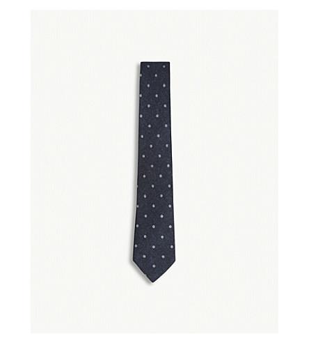 REISS Kay polka-dot wool tie (Airforce+blue
