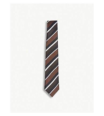 REISS Berman striped silk tie (Bordeaux+/+choc