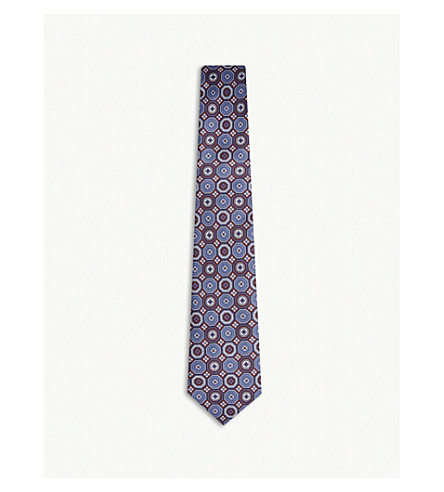 REISS Lorenzo printed silk tie (Blue