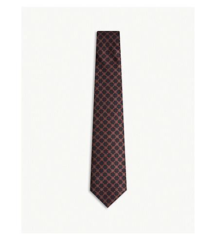 REISS Carlo floral print silk tie (Navy
