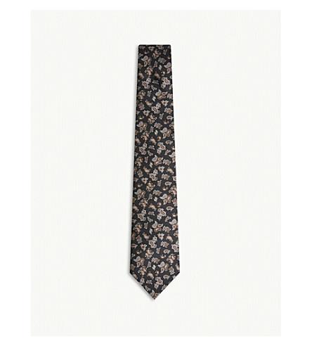 REISS Benito paisley print silk tie (Black
