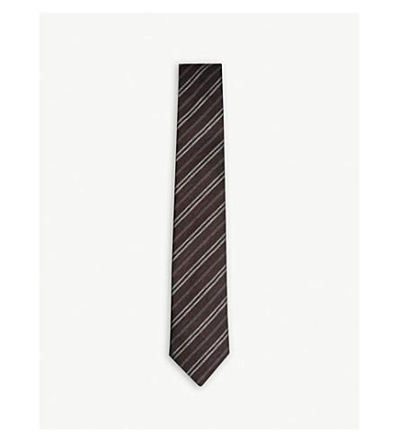 REISS Fleur-melange stripe tie (Bordeaux