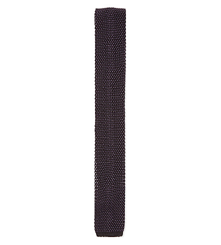 REISS Kay textured knitted silk tie (Grey