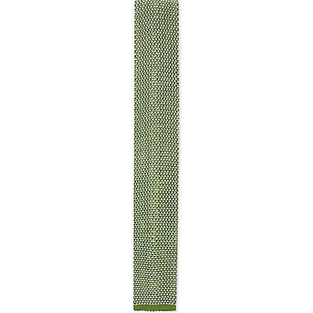 REISS Kay textured knitted silk tie (Green