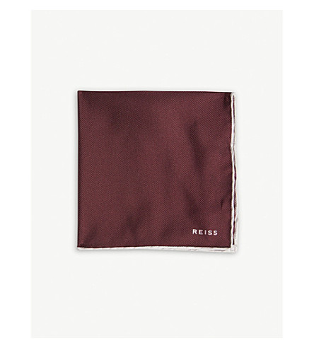 REISS Moon silk pocket square (Burgundy