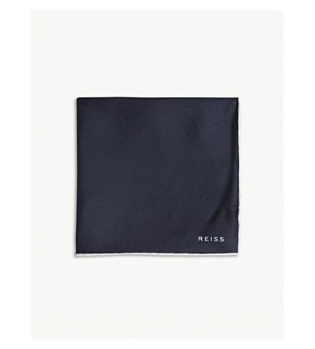 REISS Moon silk pocket square (Navy