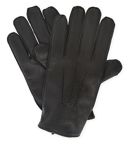 REISS Dents Glenworth leather gloves (Black