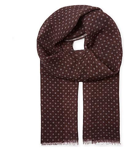 REISS Owens wool scarf (Burgundy
