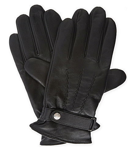 REISS Dents Foster leather gloves (Black