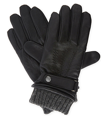 REISS Dents Henley touch-screen leather gloves (Black