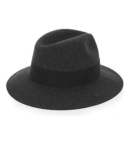 REISS Seeno wide-brimmed fedora hat (Charcoal