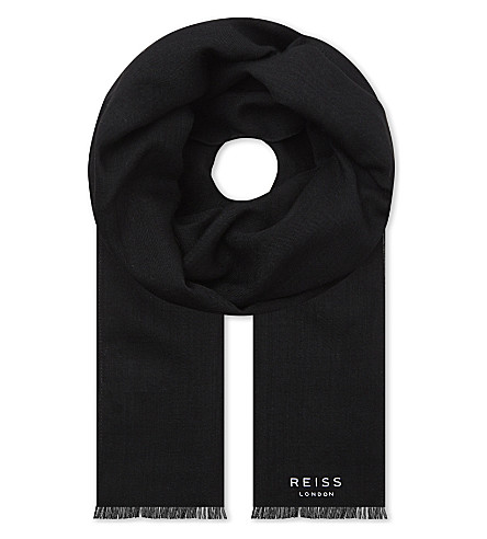 REISS Billings woven wool scarf (Black