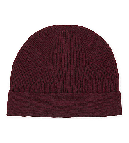 REISS Hemsby wool and cashmere beanie (Bordeaux