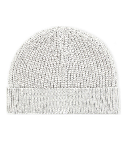 REISS Lincoln cotton-blend beanie (Light+grey