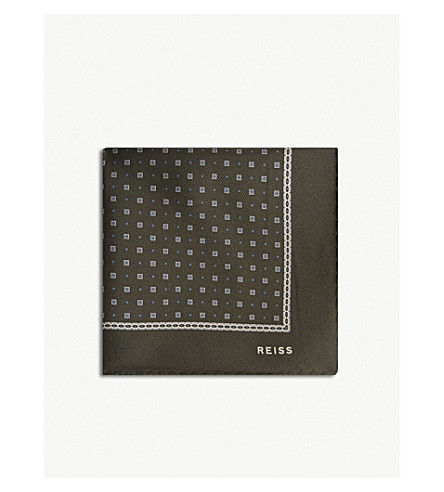 REISS Phillip printed silk pocket square (Khaki