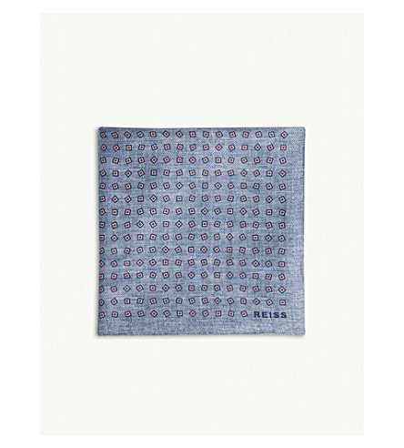 REISS Jeremy silk pocket square (Airforce+blue