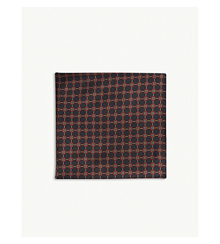 REISS Lucca silk pocket square (Navy