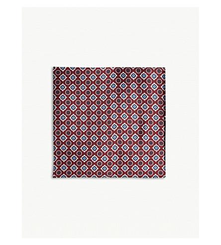 REISS Antonio silk pocket square (Red